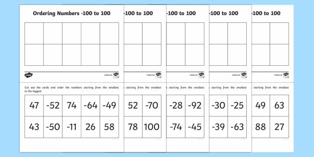 Ordering Numbers -100 to 100 Activity