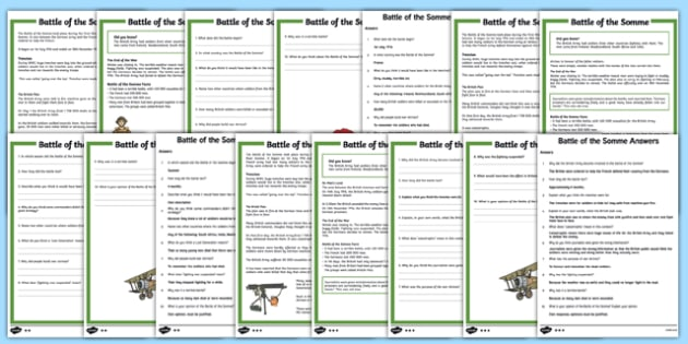 Battle of the Somme KS2 Differentiated Reading Comprehension Activity