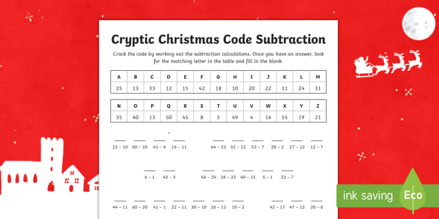 Cryptic Christmas code subtraction Activity Sheet