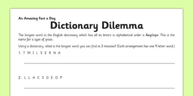 Dictionary Dilemma Activity Sheet - dictionary, countdown, dilemma, activity, worksheet