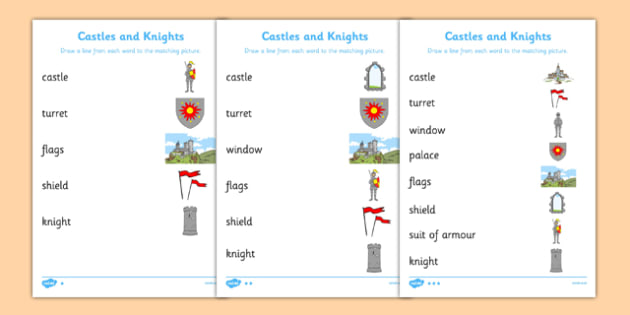 Castles And Knights Word And Picture Matching Differentiated Activity Sheet Pack, worksheet