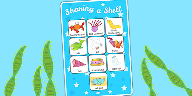 Vocabulary Poster to Support Teaching on Sharing a Shell - stories, vocab, visual aid