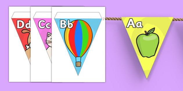 Alphabet On Bunting - bunting, decorations, alphabet, literacy, a-z, cute, pictures, alphabet and pictures, alphabet and pictures on bunting, classroom decorations, for decorating your classroom, alphabet buntin