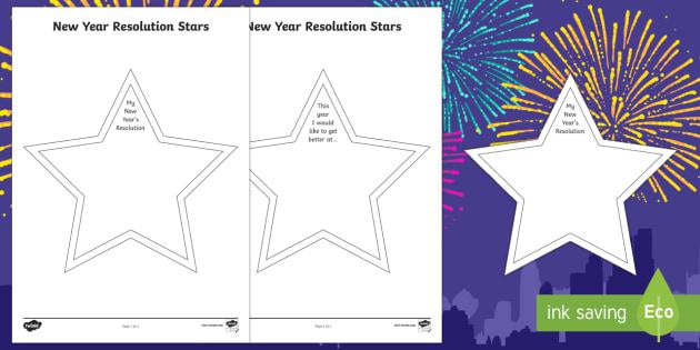 New Year Resolution Stars - EYFS, KS1, new year, targets, resolutions