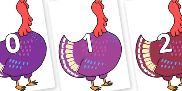 Numbers 0-31 on Hullabaloo Turkey to Support Teaching on Farmyard Hullabaloo - 0-31, foundation stage numeracy, Number recognition, Number flashcards, counting, number frieze, Display numbers, number posters