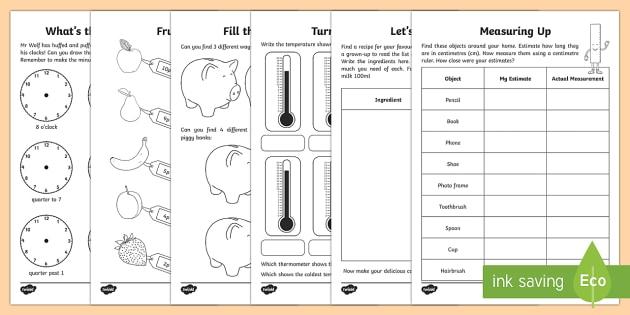 Year 2 Maths Measurement Activity Booklet - Learning from Home Activity Booklets, maths, maths homework, maths booklet, measurement, measure, me