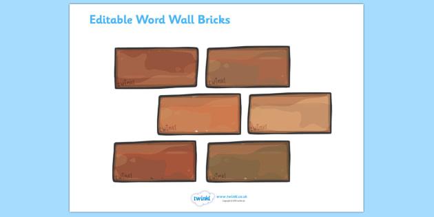 Editable Word Wall Bricks (Small) - Word Wall, editable, brick, bricks, words, keywords, banner, poster, wow words, VCOP, adjectives, nouns, display words