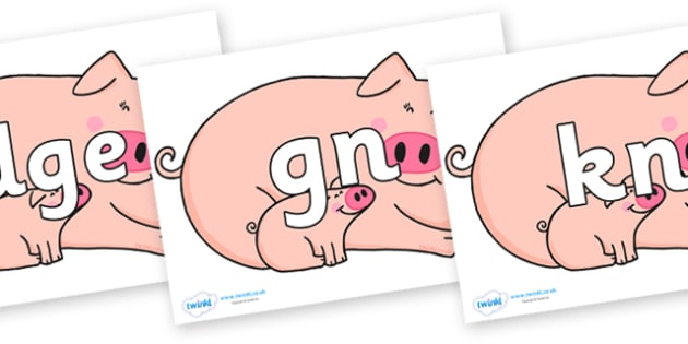Silent Letters on Hullabaloo Pigs to Support Teaching on Farmyard Hullabaloo - Silent Letters, silent letter, letter blend, consonant, consonants, digraph, trigraph, A-Z letters, literacy, alphabet, letters, alternative sounds