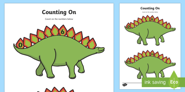 Counting On Worksheets (Dinosaurs) - education, home school, free
