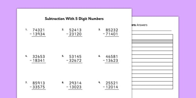 Subtraction with 5 Digit Numbers - bigger numbers, hundred thousands