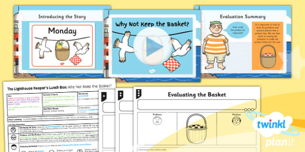 PlanIt - DT KS1 - The Lighthouse Keeper's Lunch Box Lesson 1: Why Not Keep the Basket? Lesson Pack