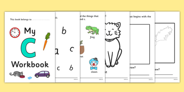 My Workbook c lowercase - workbook, c sound, lowercase, letters, alphabet, activity, handwriting, writing