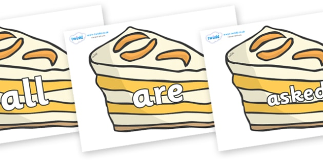 Tricky Words on Peach Dessert to Support Teaching on The Lighthouse Keeper's Lunch - Tricky words, DfES Letters and Sounds, Letters and sounds, display, words