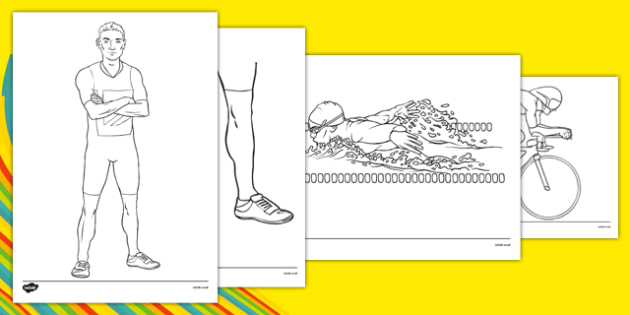 Rio 2016 Olympics Triathlon Colouring Sheets - Triathlon, Olympics, Olympic Games, sports, Olympic, London, 2012, colouring, fine motor skills, poster, worksheet, vines, A4, display, activity, Olympic torch, events, flag, countries, medal