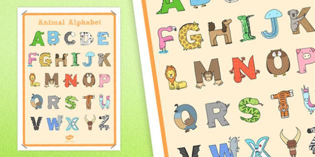Animal Alphabet Large Display Poster - animal, alphabet, display, poster