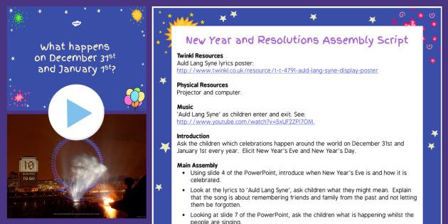 New Year and Making Resolutions Assembly Pack - assembly, pack