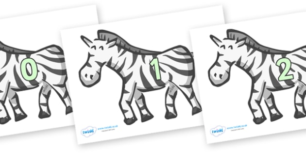 Numbers 0-31 on Zebras - 0-31, foundation stage numeracy, Number recognition, Number flashcards, counting, number frieze, Display numbers, number posters