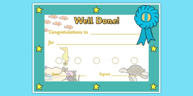 Under The Sea Sticker Reward Certificates (15mm) - Under the sea sticker Reward Certificate (15mm), under the sea, reward certificate, certificate, reward, 15mm, 15 mm, stickers, twinkl stickers, award, certificate, well done, behaviour management, b