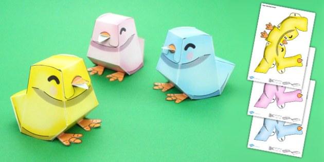 Easter Chick Paper Model - easter, chick, paper, model, craft