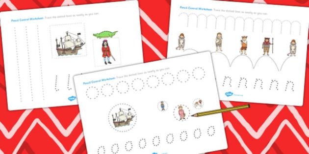Peter Pan Pencil Control Sheets - traditional, tales, worksheet