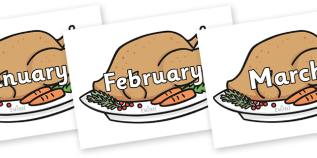 Months of the Year on Christmas Turkeys - Months of the Year, Months poster, Months display, display, poster, frieze, Months, month, January, February, March, April, May, June, July, August, September