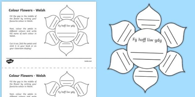 MFL Welsh Colour Flowers Activity Sheet, worksheet