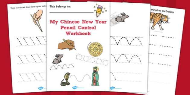Chinese New Year Themed Line Handwriting Worksheets - handwriting