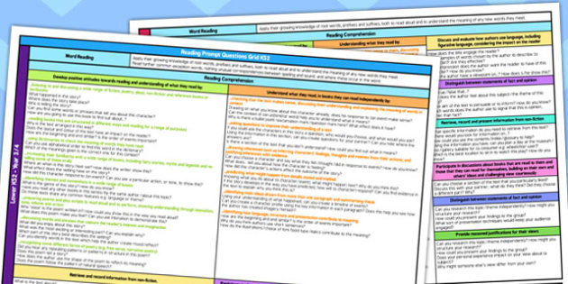 Curriculum Reading Prompt Questions Grid KS2 - read, question