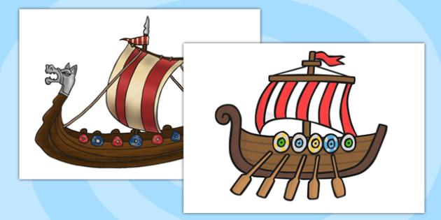 A4 Viking Ship Cut Out - vikings, ships, history, ks2, display, boats