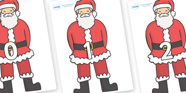 Numbers 0-31 on Father Christmas - 0-31, foundation stage numeracy, Number recognition, Number flashcards, counting, number frieze, Display numbers, number posters