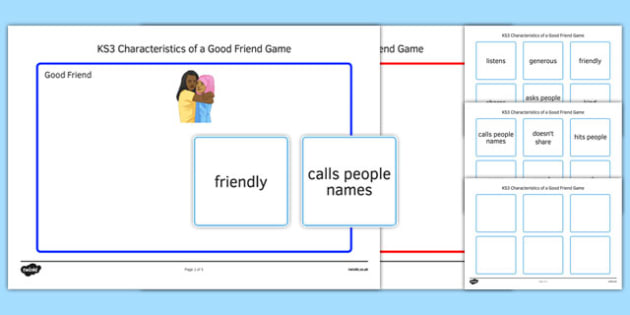 KS3 Characteristics of a Good Friend Game - ks3, characteristics, good friend, game