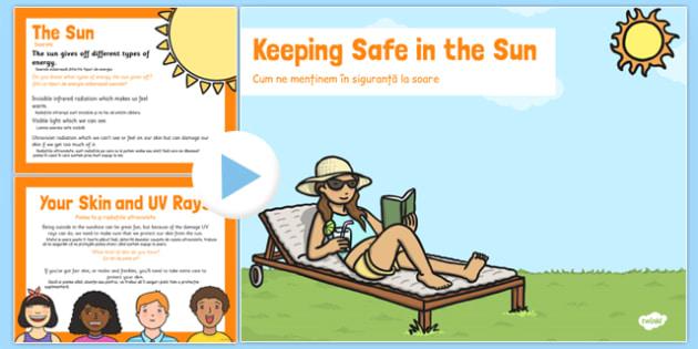 Sun Safety PowerPoint Romanian Translation - romanian, sun safety, powerpoint, sun, safety