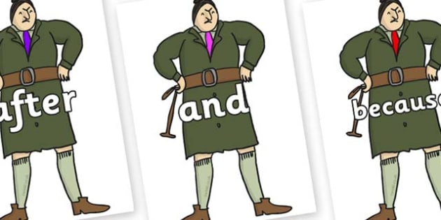 Connectives on Mrs Trunchbull to Support Teaching on Matilda - Connectives, VCOP, connective resources, connectives display words, connective displays
