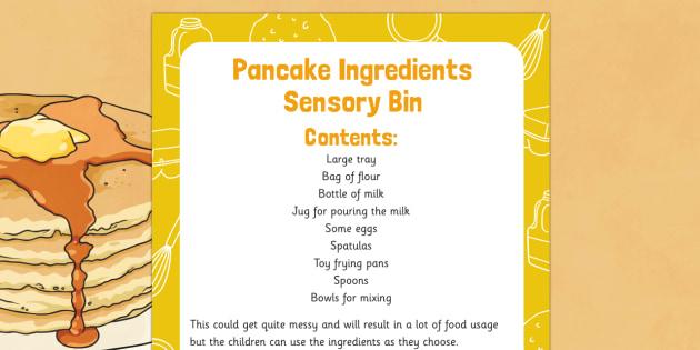 Pancake Ingredients Sensory Bin - Shrove Tuesday, pancake day, pancake, ingredients, sensory bin