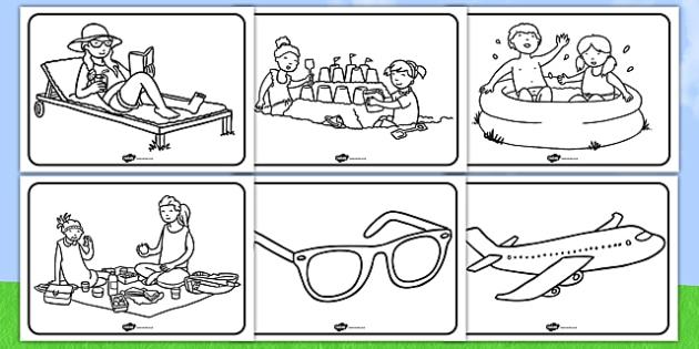 Summer Colouring Sheets - education, home school, free, fun, kids