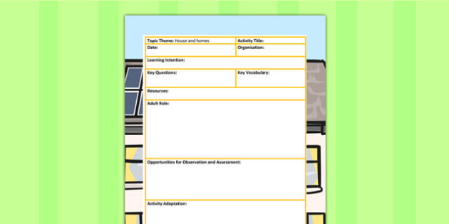 Houses and Homes Themed Adult Led Focus Planning Template