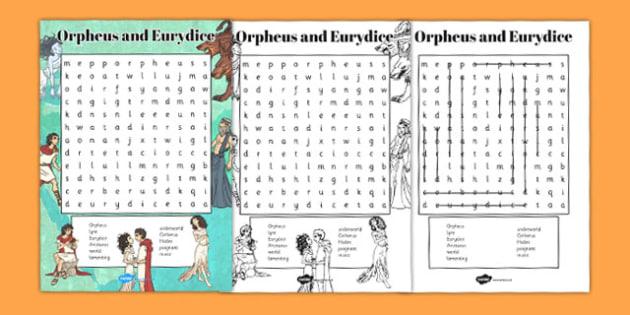 Orpheus and Eurydice Wordsearch - wordsearch, orpheus, eurydice