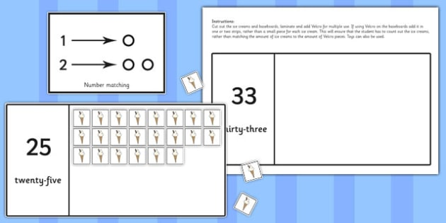 Workstation Pack 20-40 Ice Cream Counting Activity - teacch