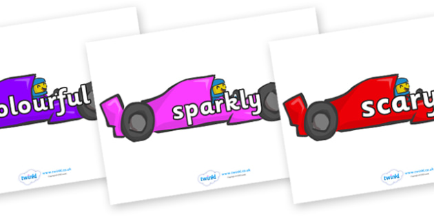 Wow Words on Racing Cars - Wow words, adjectives, VCOP, describing, Wow, display, poster, wow display, tasty, scary, ugly, beautiful, colourful sharp, bouncy