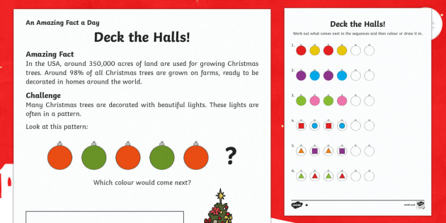 Deck The Halls Activity Sheet - Amazing Fact Of The Day, activity sheets, PowerPoint, starter, morning activity, December, Christmas