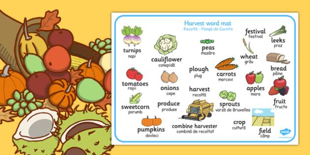 Harvest Word Mat Romanian Translation - romanian, harvest, word mat, word, mat
