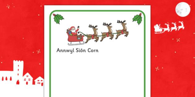 Letter To Santa Writing Frames (Welsh Translation) - letter, santa, welsh, frame