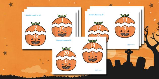 Number Bonds to 20 (on Pumpkins) - Number Bonds, Matching Cards, Number Bonds to 10, Halloween, pumpkin , witch, bat, scary, black cat, mummy, grave stone, cauldron, broomstick, haunted house, potion, Hallowe'en