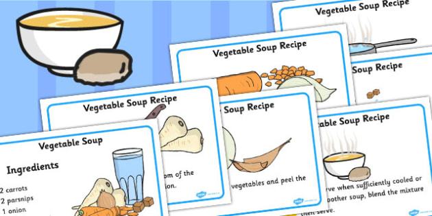 Simple Vegetable Soup Recipe Cards - vegetable soup, recipe, card