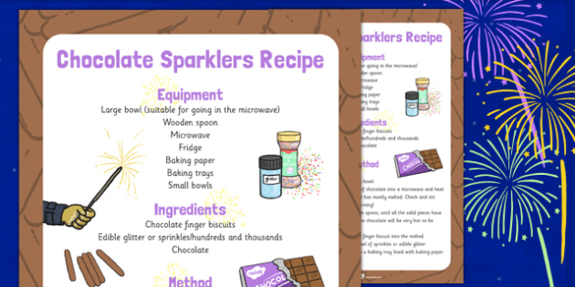 Chocolate Sparklers Recipe - chocolate, sparklers, recipe, eyfs