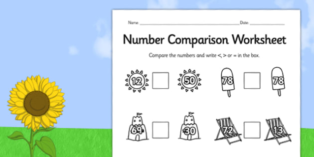 Summer Differentiated Number Comparison Worksheets - seasons