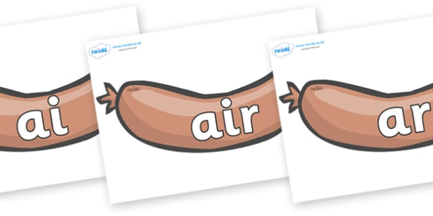 Phase 3 Phonemes on Sausages to Support Teaching on The Very Hungry Caterpillar - Phonemes, phoneme, Phase 3, Phase three, Foundation, Literacy, Letters and Sounds, DfES, display