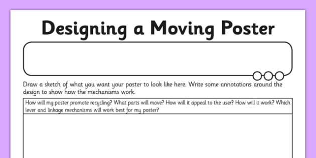 Designing a Moving Poster Activity Sheet - Go Green, Eco, recycle, warrior, environment, worksheet