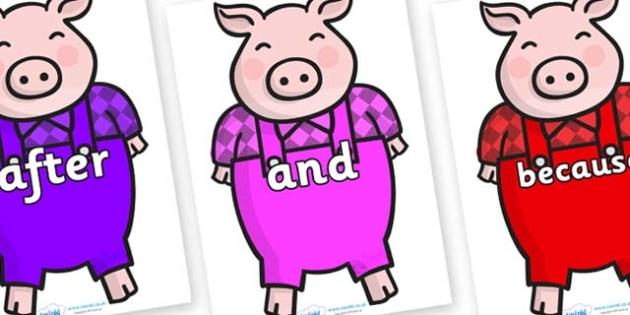 Connectives on Pigs - Connectives, VCOP, connective resources, connectives display words, connective displays
