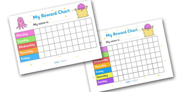 My Reward Chart (Monsters) - my reward chart, monsters, chart, reward, well done, certificate, award, school, general, monster, monster themed, scary